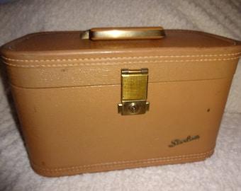 Vintage Luggage Train Case Tan Starline Hard Body