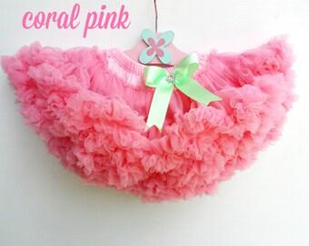 Coral Pink Chiffon Ruffle Baby Pettiskirt Bloomer Tutu