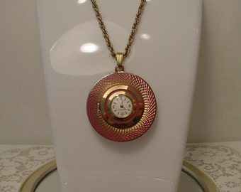 MOD 1960s -1970s Caravelle by Bulova PINK with Gold Detail Wind- Up Watch Pendant