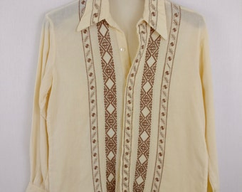 Hippie 1970s Men's Embroidered Button Up Shirt made in Paraguay + woven semi sheer AHO-POI