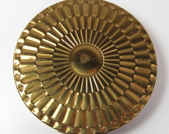 Vintage Superb USA Gold 1960s Large Round Mirror Pink Powder Puff Compact Vtg
