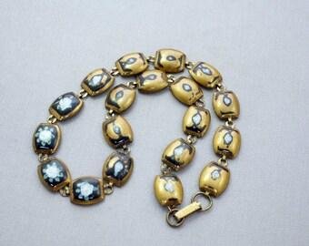 Necklace Brass Necklace Antique Painted Brass Necklace
