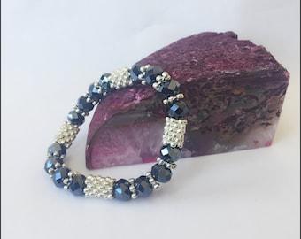 Blue & Silver Beaded Bracelet Spellbound Custom Blessing Bracelet By Dovemacob