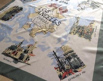 Vintage 1980s GUESS Jeans Scarf Los Angeles California Souvenir Map Look Scarves Linens Housewares Home Decor or Wearable Established 1981