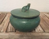 Reserved for Buffy......Vintage Craftsman Green Jewelry Box  with Frog Detail