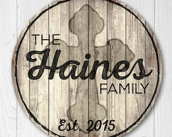 Wood Family Established Sign, Personalized Family Established Sign, Last Name Sign With Cross
