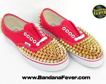 Custom Vans Authentic Red Gold Round Pyramid Studs - FREE SHIPPING - Sz 7 M 8.5 W