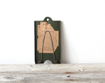 Industrial Green Note Holder with Wall Mount