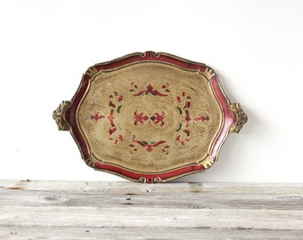 Large Gold & Red Florentine Gilt Italian Tray
