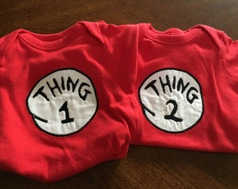 Thing 1 And Thing 2 Twin Bodysuits