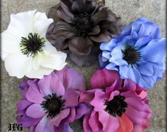 Anemone hair flower clip, purple, white, blue or black