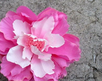 Pink peony hair flower clip, realistic