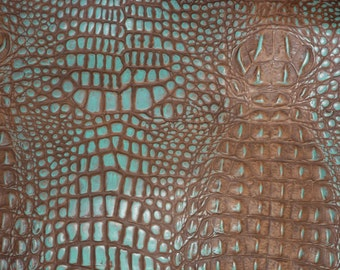 "Leather 8""X10"" ALLIGATOR Cocoa Brown and TURQUOISE ALLIGATOR / Croc Embossed Cowhide  2.5-3 oz/1-1.2 mm PeggySueAlso™ E2860-26"