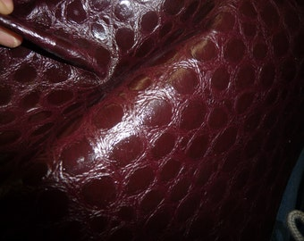 "Leather 8""x10"" REPTILE Dark Maroon / Burgundy CROCO embossed Leather Cowhide PeggySueAlso"