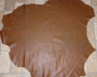 """Leather 7.5 sq ft 33""""x31"""" Chocolate Lambskin Washed Shrunken finished Hide 1.75-2.25 oz / 0.7-0.9 mm PeggySueAlso #402"""