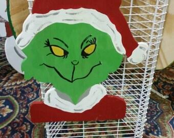 Grinch Door Hanger - Christmas door hanger grinch door decor winter wreath holiday door Hanger