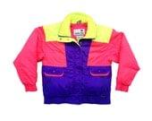 Puffy 90s Neon White Stag Tri-Tone Ski Jacket - L