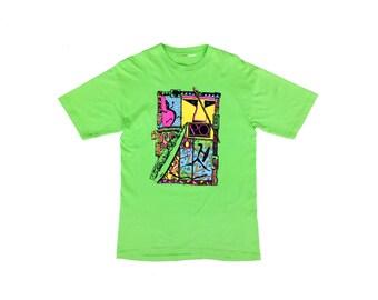 Odd 80s Neon Pacific Ocean Surf Mania T-Shirt - L