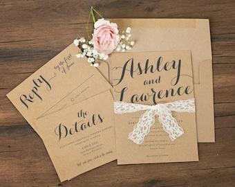 Rustic Kraft & Lace Wedding Invitations \\ Sample