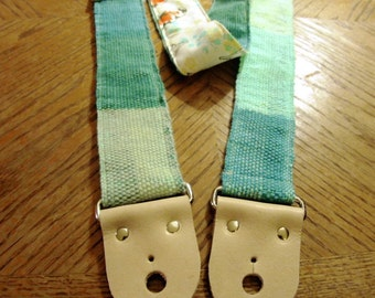 Guitar Strap - Hand Woven Aqua Hues w/Japanese Koi Backing - Wool Fiber, Leather Ends - Bass or Guitar Strap, Instrument Strap