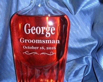 17 oz Personalized Glass Flask, Swing Top Bottle, Groomsmen gift, Groomsmen Flask, Personalized Flask, Engraved Flask, Hip Flask