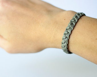 Braided Leather Bracelet / Heather Grey
