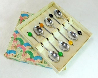 SALE! Art Deco Coffee Spoons, Set 6 Silver Plated EPNS Yellow Green Black Celluloid Coffee Bean Spoons Boxed 1930s