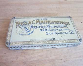 Vintage Regal Mainsprings Tin by Armer & Weinshenk ~ Industrial Home Decor Bathroom Canisters, Unique Housewarming Gifts, Shabby Chic Style