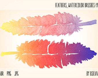 Feathers Photoshop brushes, digital stamps, Watercolour feathers PNG files