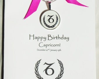 Capricorn Birthday Card - Zodiac Necklace -Capricorn Gift for Mom, Sister, Friend,Daughter -Gift for Capricorn Zodiac - Astrology Jewelry