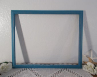 Aqua Turquoise Teal Blue Rustic Shabby Chic Distressed Wood Picture Frame Up Cycled Vintage Photo Decoration Beach Cottage Home Decor Gift