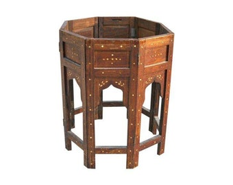 Antique Octagonal Inlaid Table Base India