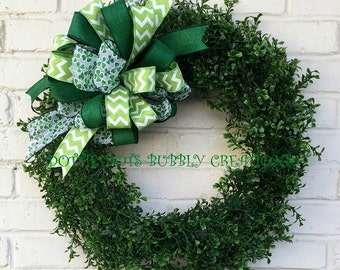 Spring/Summer Artificial Boxwood Wreath W St Patrick's Bow, Summer Wreath