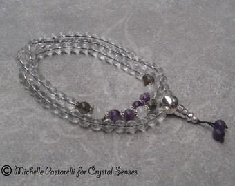 Intuition 108 Mala Gemstone Necklace, Gratitude Prayer Necklace Clear Quartz 8mm beads (108GRA0017)