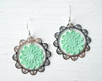 Silver Charm and Mint Lace Earrings // Lace Jewelry