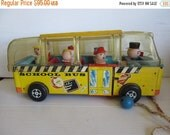 ON SALE Vintage Fisher Price Safety Bus 983 Very First Edition Made 1959-1960 Only With Figures Little People Toy Play Family