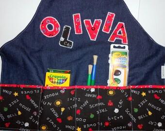 FREE USA SHIPPING, Girls Art Apron, Childs Art Smock, childs painting apron, Childs Baking apron, Toddler Cook, Childs full apron
