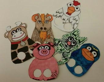 Barnyard Finger Paper Puppets, You Color!
