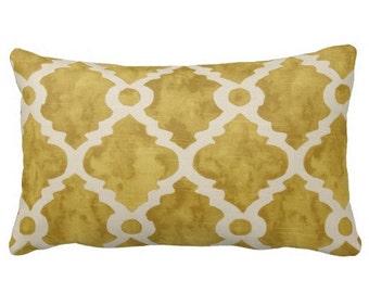 lumbars, yellow 12x24 lumbar, yellow trellis lattice pillow cover, 12x18 chair pillows, decorative pillow, yellow pillows, yellow home decor