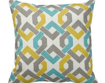 Teal Blue Outdoor Trellis Pillows, Decorative Pillows,Pool Pillows, Pillow Covers, Outdoor Chair Pillows,Blue Yellow Grey Pillows