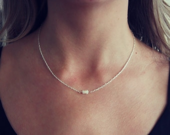Delicate Opal necklace, silver necklace, meaningful jewelry, best friend gift, gift for her, October birthstone