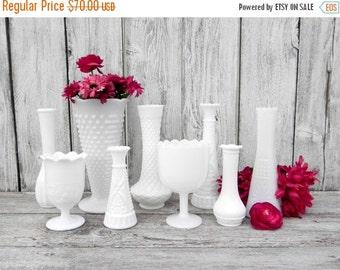 ON SALE Vintage Milk Glass Vase Collection of 9 for Weddings, Home Decor, Assorted Milk Glass Vase Collection,  Shabby Chic Wedding Vase Dec