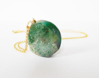 Green Druzy Pendant Necklace, Green Agate Druzy Necklace, Gold Necklace, Boho Gemstone Necklace, Crystal Necklace, Gift for her