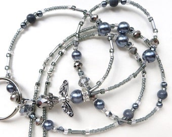 SWEET SILVER ANGEL Beaded Id Lanyard Badge holder- Silver Crystals and Pearls with Tibetan Silver Beads and Spacers (Magnetic Clasp)