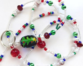 CHRISTMAS TREE JOY- Beaded Id Lanyard- Sparkling Crystals, Lampwork Beads, Glass Pearls- One of a Kind- (Necklace Clasp)