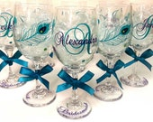6  Peacock Feather Wine Glasses - Choose Your Font - Great for Bride and Bridesmaids Gifts