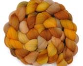Hand dyed wool sliver -  Targhee wool spinning fiber - 4.2 ounces - Pumpkin Seeds 1