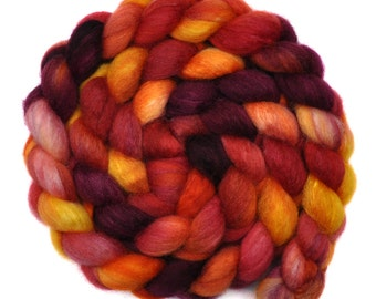 Hand painted spinning fiber - Silk / BFL wool 25/75% roving - 4.0 ounces - Fiery Dragons 3