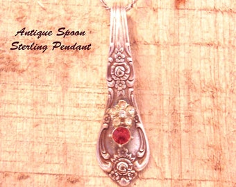 Antique Sterling Spoon Pendant with Paste Stones, 20 Inch Chain