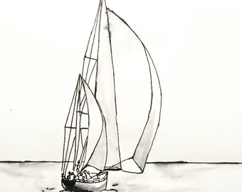 Adrift - Ink Sketch, Ink Drawing, Pen and Ink, Black and White, Fine Art Print, Giclee, Original Art, Sea life, Sailboat Sketch